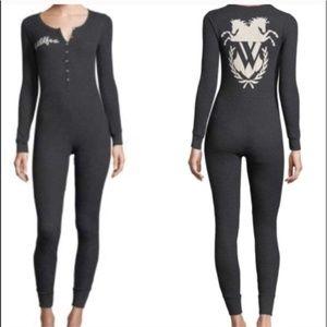 Wildfox Onesie Pajama, XS, Charcoal, New with Tags